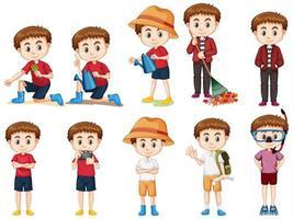 uppsättning av söt pojke som gör olika aktiviteter