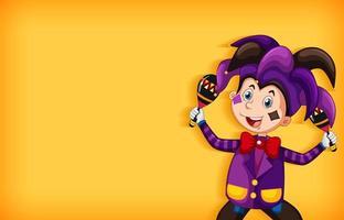 Hintergrundschablonendesign mit glücklichem Clown im lila Kostüm vektor