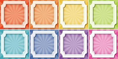 åtta bakgrundsmallar med ram vektor