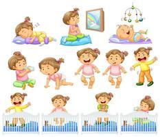 uppsättning baby flicka som gör olika aktiviteter