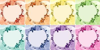 bakgrundsdesign med blommoramar i åtta färger vektor