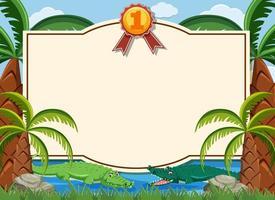 Zertifikatvorlage mit Krokodilen, die im Fluss schwimmen vektor