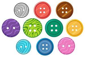 uppsättning olika mönster på runda knappar på vit bakgrund vektor