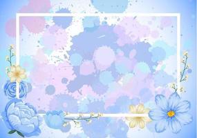 Rahmenschablonendesign mit blauen Blumen vektor