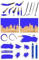 olika design av akvarellmålning i blått på vit bakgrund vektor