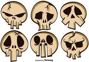Vektor Set Of Cartoon Skulls For Halloween