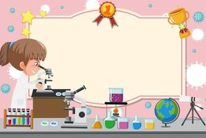 Zertifikatvorlage mit Mädchen im Laborkleid, das durch Mikroskop schaut
