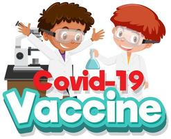 coronavirus-affischdesign med pojkar i vetenskapslaboratorium vektor