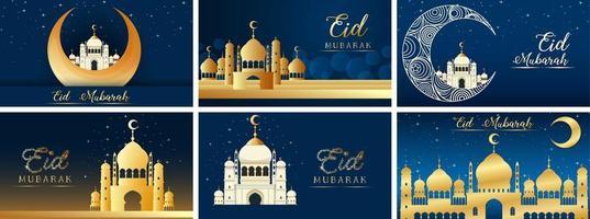 sechs Hintergrundentwürfe für muslimisches Festival eid mubarak vektor