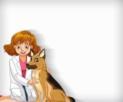 Hintergrundschablonendesign mit glücklichem Tierarzt und Haustierhund