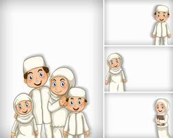 Hintergrundschablonendesign mit muslimischer Familie vektor
