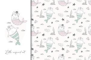 sjöjungfru katter illustration kort och sömlösa mönster