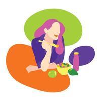Frau, die eine gesunde Mahlzeit isst