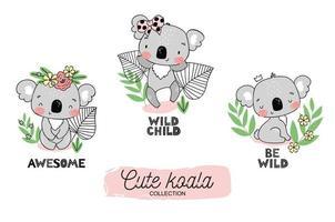 tecknad baby koala söta djungel djur karaktär samling. vektor