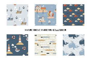 tecknade marina sömlösa mönster samling. vektor