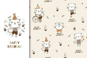 söt tecknad katt födelsedag design och mönster.