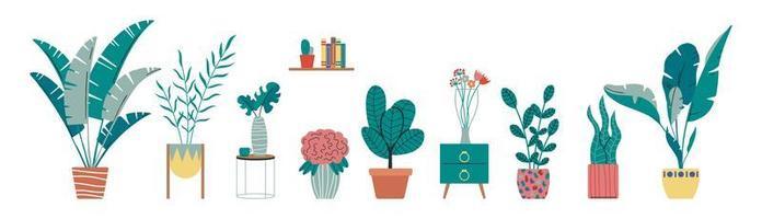 samling av tropiska växter inomhus vektor