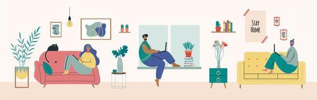 junger Mann und Frau arbeiten von zu Hause aus
