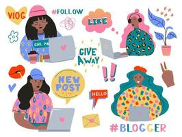 söta roliga tjejer eller bloggare med laptop vektor