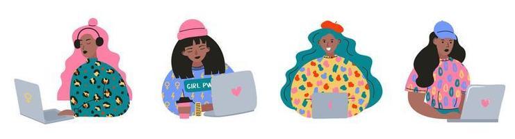 snygg uppsättning av ung kvinna på jobbet