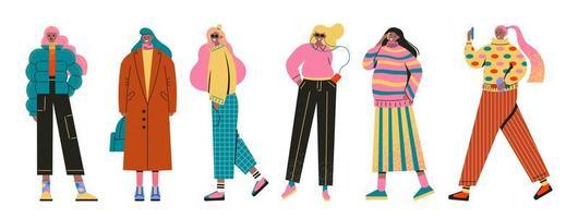 uppsättning av unga kvinnor flickor klädda i trendiga kläder