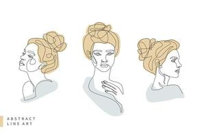 abstrakt minimal kvinnas ansiktslinje konstuppsättning vektor