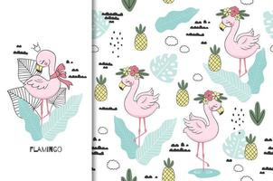 süße Flamingo-Prinzessin mit nahtlosem Kronenmuster vektor