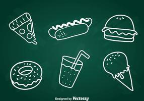 Essen Kreide Zeichnung Icons Set vektor
