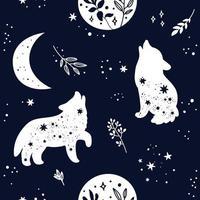sömlösa mönster med varg djur silhuett vektor