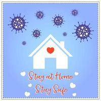 stanna hemma och vara säker från coronavirus-affisch