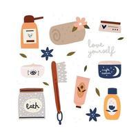 samling av kosmetika för daglig vård