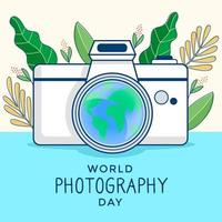 Weltfotografietagdesign mit Blättern und Kamera