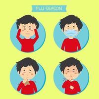 Mann mit Grippesymptomen eingestellt