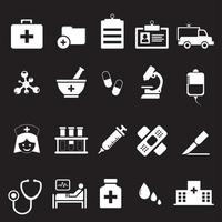 sjukhus och medicinsk ikonuppsättning
