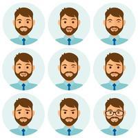 affärsman uttryck avatar uppsättning vektor
