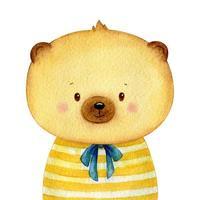 söt liten brunbjörn klädd i en skjorta