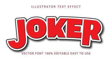 joker fet röd, svartfodrad texteffekt vektor