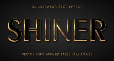 glänzender schwarzer, goldener Akzent-Texteffekt vektor
