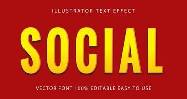 sozialer gelber Texteffekt vektor