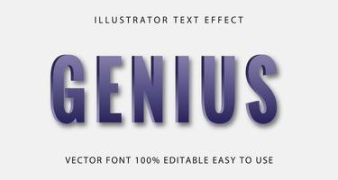 blå geni text effekt vektor