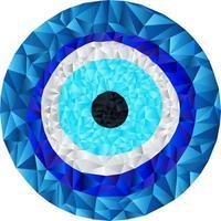 låg polyblå onda öga