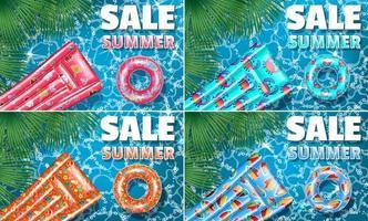 banners försäljning sommaruppsättning med flottörer vektor