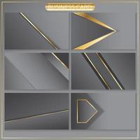 abgewinkelter Visitenkartenschablonensatz aus Gold und Grau