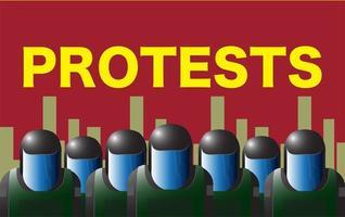 Bereitschaftspolizei auf rotem Protestkonzept vektor