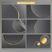 cirkulär guld- och grå visitkortsmalluppsättning