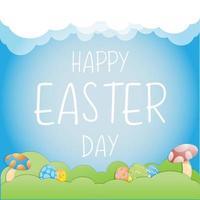 Papierkunst Osternentwurf mit Pilzen und Eiern