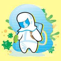 Mann in Hazmat Anzug und Viruszellen