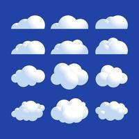 fluffig realistisk moln Ikonuppsättning