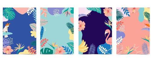 sommarkortkollektion med blad, flamingo och papegoja vektor