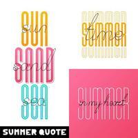 Set Sommer handgezeichnete Beschriftung vektor